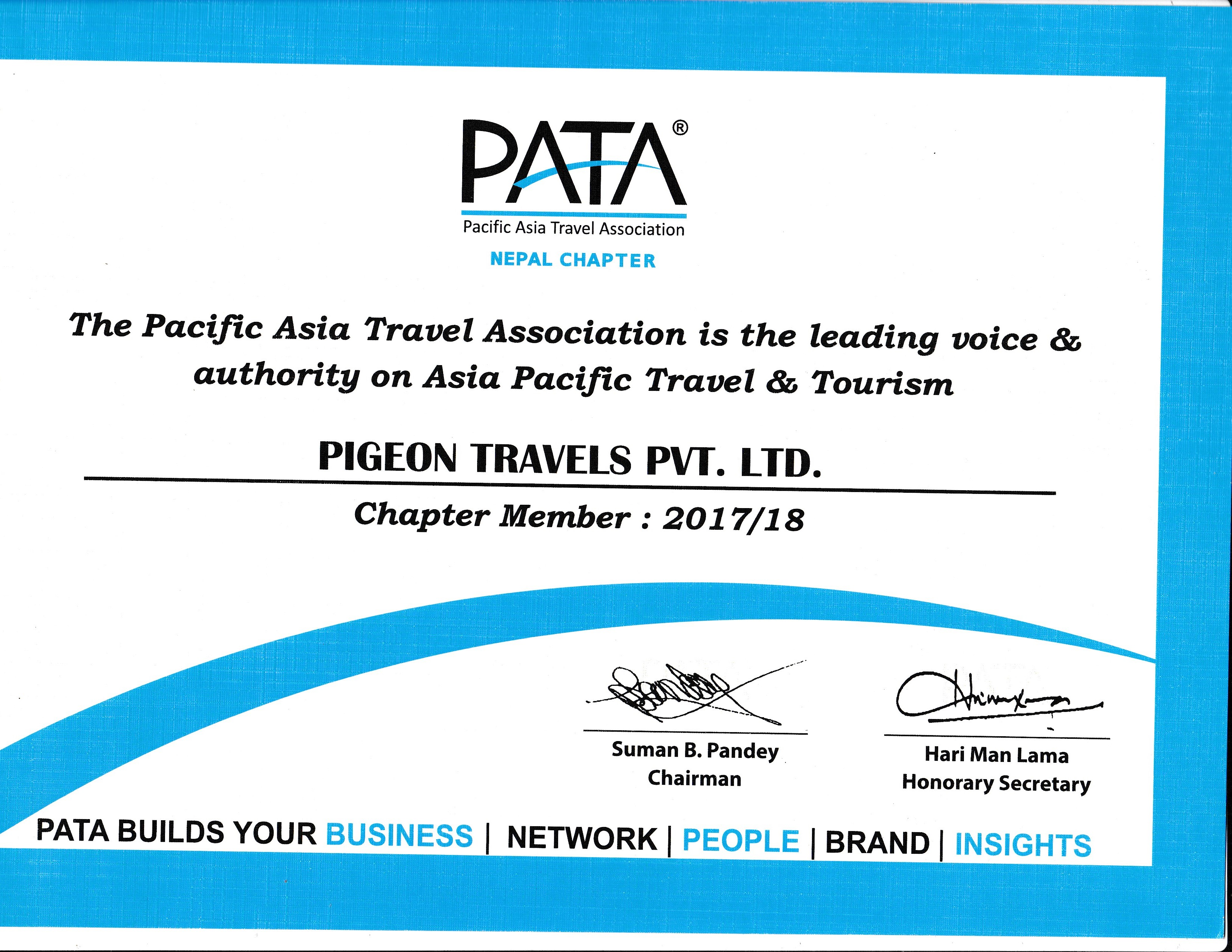 Certificate from PATA Nepal Chapter