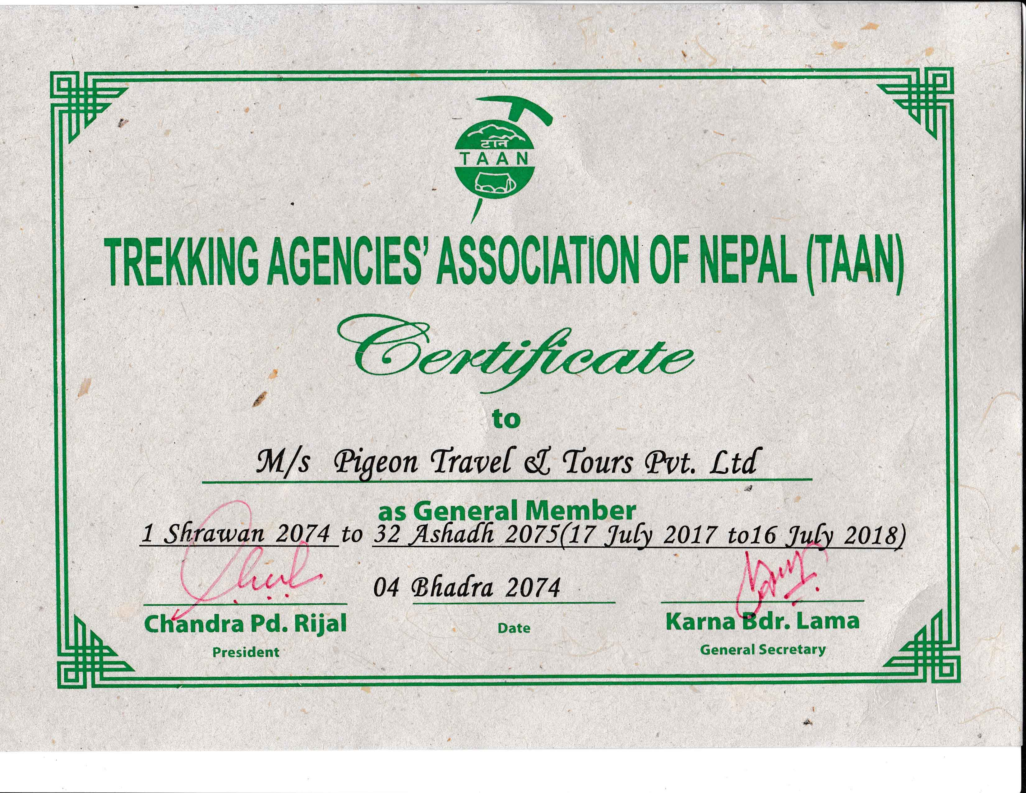 Member Certificate from Trekking Agencies Association of Nepal