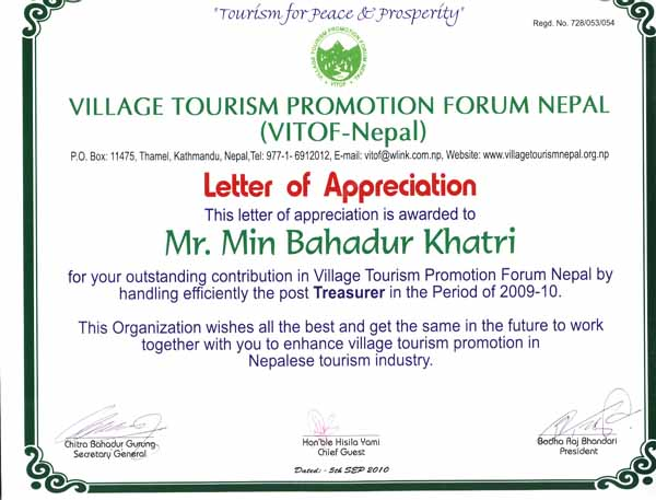 Letter of Appreciation from Village Tourism Promotion Forum