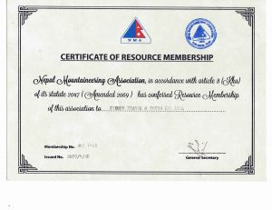 Member of  Nepal Mountainerring Association(NMA)